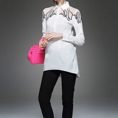Alaroo - Long-Sleeve Mesh Panel Blouse