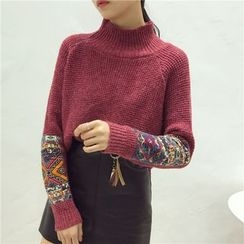 Octavia - Patterned Applique Mock Neck Sweater