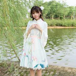 Jade Dragon - Lace Trim Bell-Sleeve Blouse / Floral Print Suspender Skirt