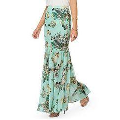 Richcoco - Floral Maxi Chiffon Skirt