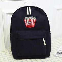 Youme - Popcorn Embroidered Canvas Backpack