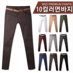 WIZIKOREA - Colored Cotton Pants