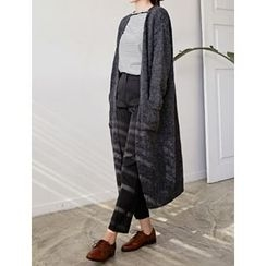 FROMBEGINNING - Open-Front Wool Blend Long Cardigan