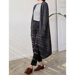 FROMBEGINNING - Open-Front Wool Blend Long Cardigan