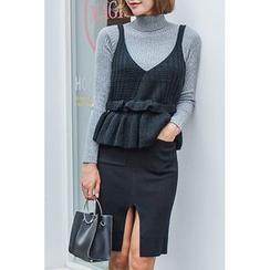 migunstyle - Cutout-Hem Knit Pencil Skirt