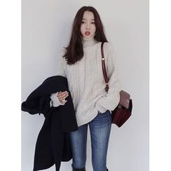 maybe-baby - Turtle-Neck Cable-Knit Top