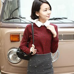 Tokyo Fashion - Contrast-Collar Check Blouse