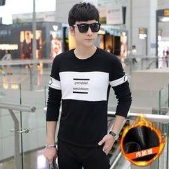 Alvicio - Fleece Lined Lettering Long-Sleeve T-Shirt