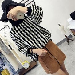 Polaris - Contrast Puff-sleeve Sweater