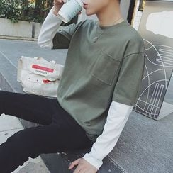 JUN.LEE - Mock Two-Piece Long-Sleeve T-Shirt
