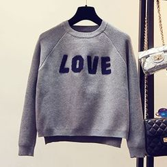 FR - Letter Applique Cropped Sweater