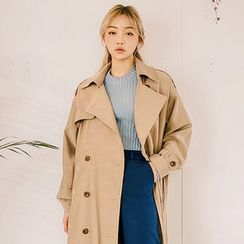 chuu - Double-Breasted Long Trench Coat with Belt
