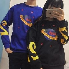 Cerauno - Planet Print Couple Matching Pullover
