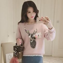Ashlee - Pompom Deer Applique Pullover