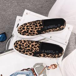 EUNICE - 豹紋厚底帆布鞋