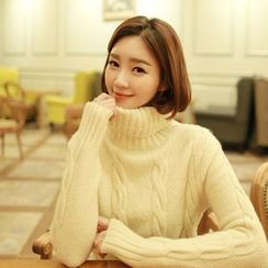 CLICK - Turtle-Neck Cable-Knit Sweater