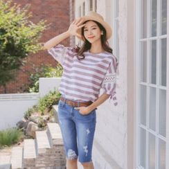 JUSTONE - Laced Puff-Sleeve Stripe Top