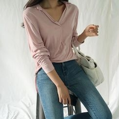 ATTYSTORY - Collared V-Neck Long-Sleeve Top
