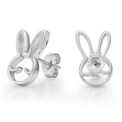 Kenny & co. - 925 Silver Rabbit Outline Earring in RH. Plated