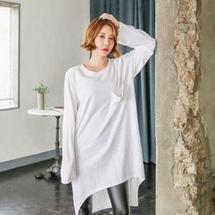Seoul Fashion - Dip-Back Long T-Shirt Dress