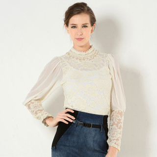 YesStyle Z - Balloon Sleeve Beaded Neckline Lace Blouse