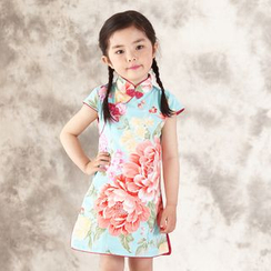 Lotus Seed - Kids Short-Sleeve Floral Cheongsam