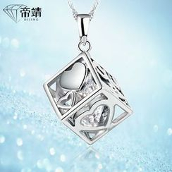 DIJING - Heart Cubic Pendant Sterling Silver Necklace