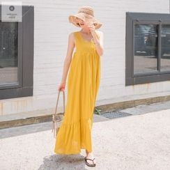 WITH IPUN - Square-Neck Sleeveless Maxi Dress