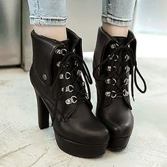 Gizmal Boots - Chunky Heel Lace-Up Short Boots