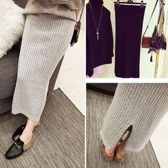 COOKIS - Plain Midi Ribbed Knit Skirt