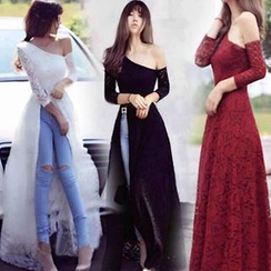 Champi - Long-Sleeve Off Shoulder Lace Maxi Dress