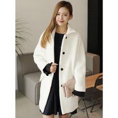 BBAEBBAE - Collared Raglan-Sleeve Wool Blend Coat