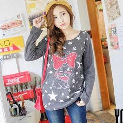 YoungBaby - Long-Sleeve Cat-Print Top
