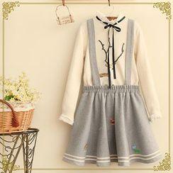 Fairyland - Embroidered Striped Trim Suspender Skirt