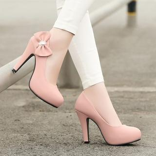 Pretty in Boots - Bow Accent Pumps
