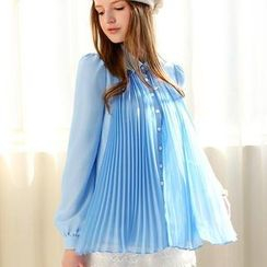 Dabuwawa - Jeweled-Collar Pleated Chiffon Blouse