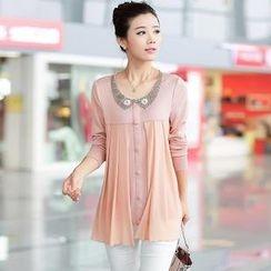 AiSun - Embellished Collar Chiffon Panel Blouse