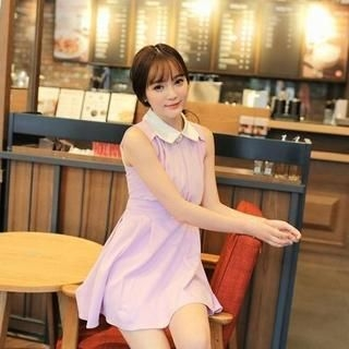 MisSweet - Sleeveless Peter Pan-Collar Chiffon Dress