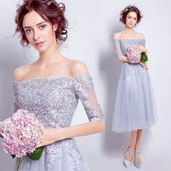 Angel Bridal - Off-Shoulder Lace Mini Prom Dress