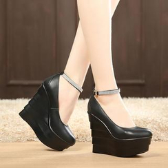 Hannah - Ankle Strap Platform Wedge Pumps