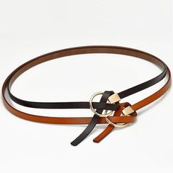 HANYI - Genuine-Leather Hoop Buckle Slim Belt