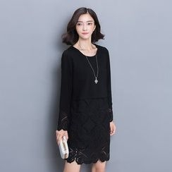 Her Story - Lace-Panel Shift Dress