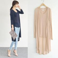 45SEVEN - Set: Open-Front Long Cardigan + Sheered Tank Top
