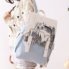 Canvas Love - Printed Flap Canvas Backpack