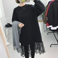 Moon City - Lace Hem Pullover Dress