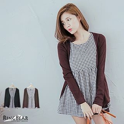 RingBear - Set: Sleeveless Houndstooth Dress + Cardigan