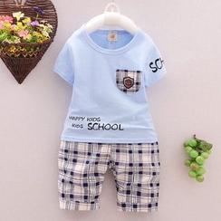 POMME - 小童套装: 短袖拼接T恤 + 格子裤子