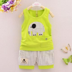 POMME - Kids Set: Animal Tank Top + Pinstriped Shorts