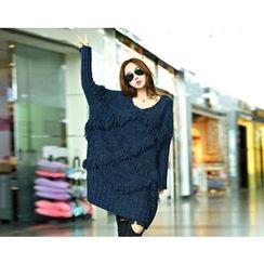 Dream Girl - Fringe Trim Knit Dress