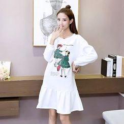 Bloombloom - Printed Ruffle Hem Pullover Dress